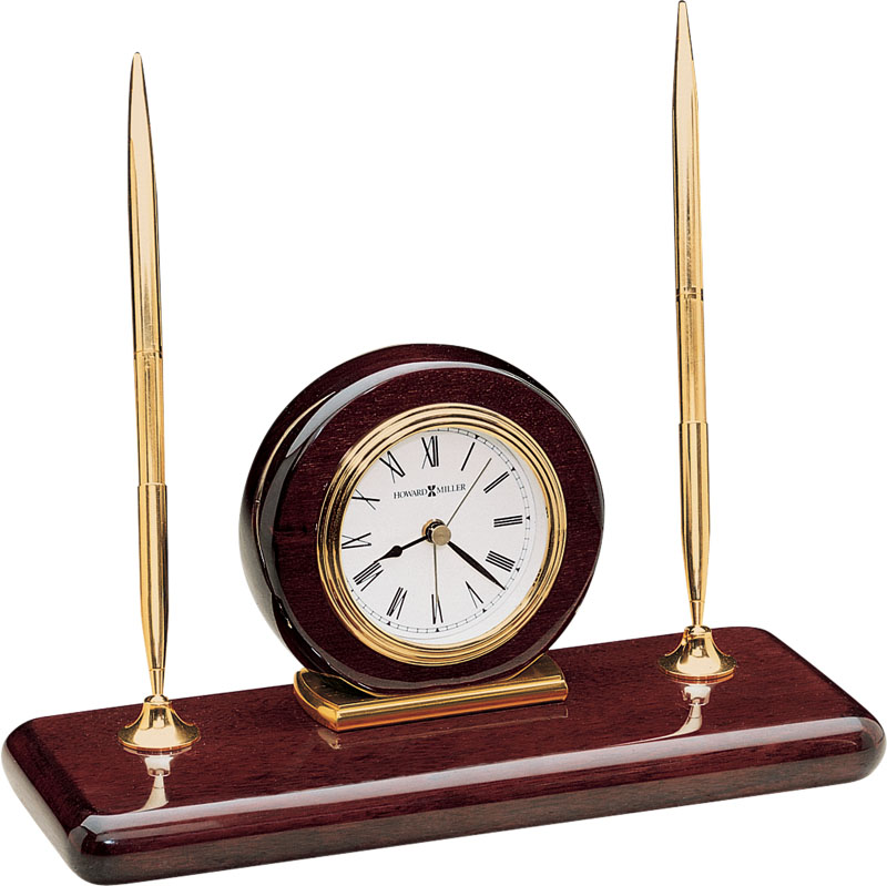 Howard Miller Rosewood Desk Set Table Clock